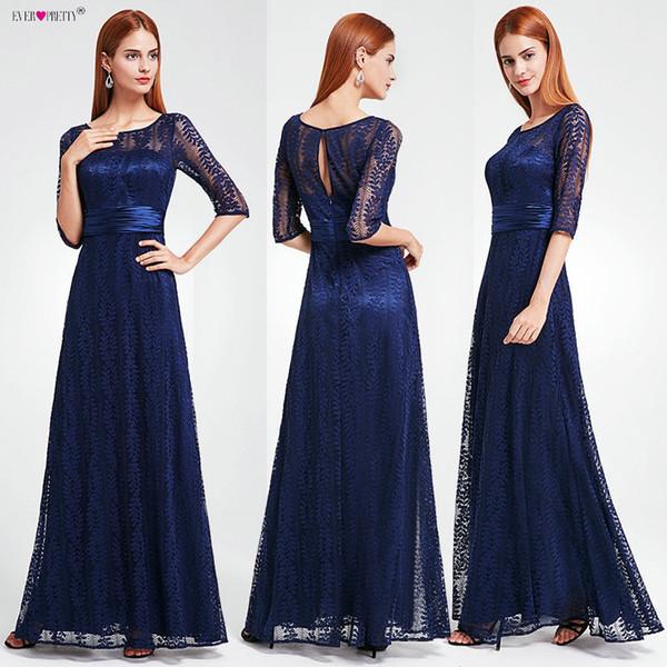 Women's Elegant Long Mother Of The Bride Dresses 2019 Ever Pretty Ep08878 Cheap Grey Lace Floor-length Plus Size Mother Dresses J190622