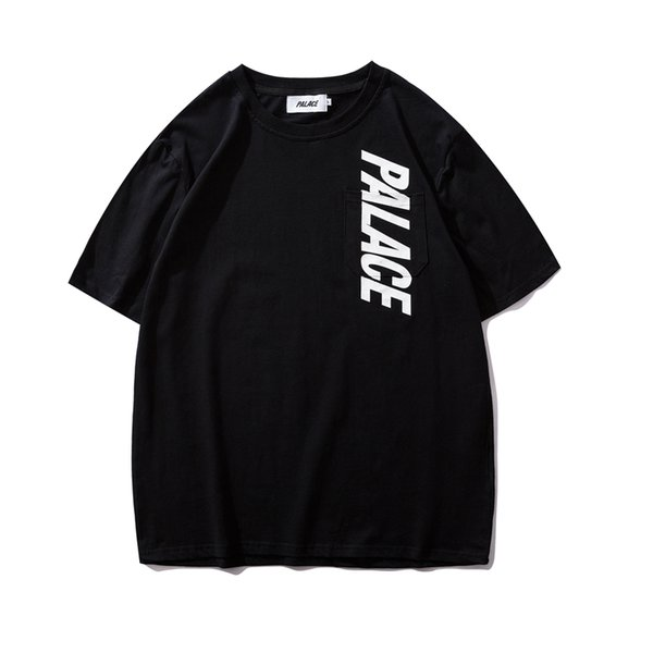 19ss Europe and the United States tide brand palettes chest vertical letter pocket loose men and women short-sleeved T-shirt tee