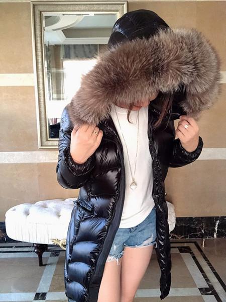 여성 겨울 자켓 여성 오리 다운 코트 100 % 실버 여우 큰 모피 칼라 모든 태그 및 라벨 소매 분리 여성 천