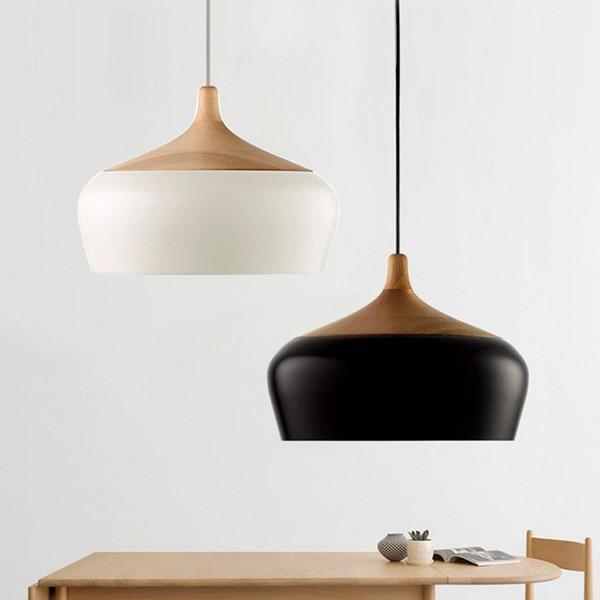 Simple personality restaurant pendant lamp cover single head chandelier Nordic living room bedroom bar solid wood aluminum creative lighting