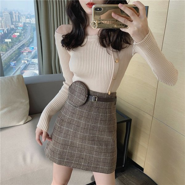 port of flavour chic joker fashionable short skirt a word skirt of tall waist cloth grid skirts female with pockets