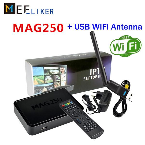 MAG250 Set Top Box con WIFI Antenna USB Mag 250 256MB Processore di sistema Linux STi7105 RAM 256Mb DLAN IPTV Box Mag250 Media Player