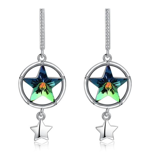 Pendientes de diseño único de cristal de Swarovski Elements Circle Hollowing Star Shaped Chandelier Pendiente Joyería Regalos POTALA35B