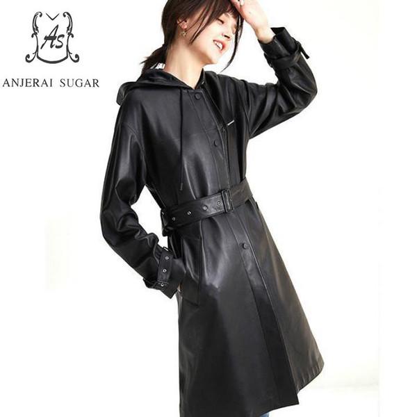 Hakiki Deri Bayan Giyim siyah Tek Göğüslü X-uzun Artı Boyutu Rahat Kapüşonlu İpli Gerçek Deri Koyun Mont