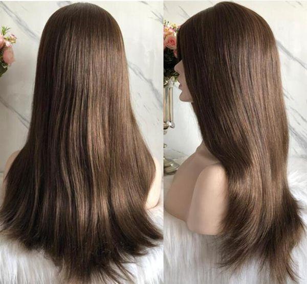 Pelucas Kosher 10A Marrón claro Color # 6 El mejor cabello humano virgen europeo Sedoso Recto 4x4 Base de seda Peluca judía Envío gratis rápido