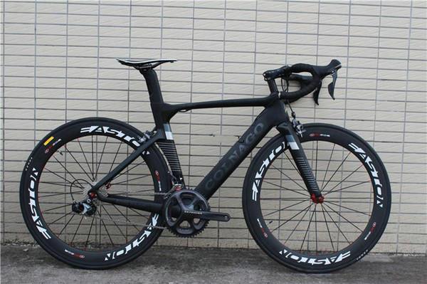 BOB Colnago Concetto carbonio completa della bici della strada nero con R7010 Groupset 50 millimetri ruote Colnago manubrio sella