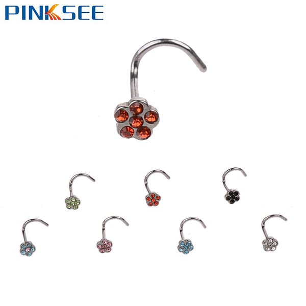 Fashion Stainless Steel Plum Crystal Rhinestone Nose Studs Hooks Bar Pin Nostril Nose Rings Body Piercing Jewelry For Women