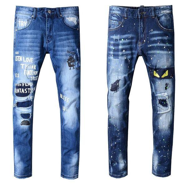 Brand New Mens Jeans Distressed Ripped Biker Jeans Slim Fit Motorradfahrer Denim Jeans 2019 Modedesigner-Hosen