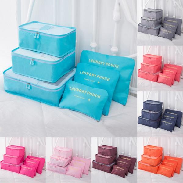 Viaje a casa Bolsa de almacenamiento de equipaje Organizador de almacenamiento de ropa Bolsas cosméticas portátiles Sujetador de la ropa interior Bolsa Bolsas de almacenamiento 6 unids / set