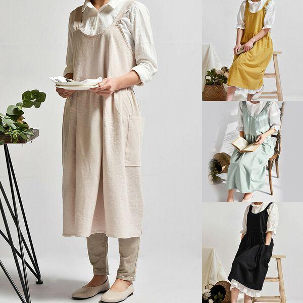 top popular Newest Vintage Women Lady Linen Cross Back Apron Housework Baking Wrap Florist Dress Cafe Kitchen Cooking Casual Apron Dropship 2020
