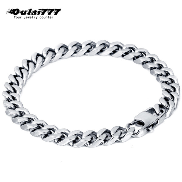 oulai777 stainless steel men bracelet mens chain cuban link accessories gold black silver rock charm bracelets chain on hand