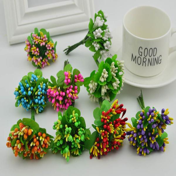 10pcs slik stamen bouquet diy handwork wreaths home wedding decoration Bride headdress scrapbooking box gifts Artificial flowers C18112601
