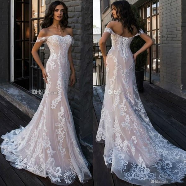 2019 Berta Off the Shoulder Mermaid Wedding Dresses Long Appliques Lace Up Back Castle vestido de novia Beach Bridal Gowns