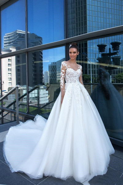 Beaded Lace Sheer Garden Wedding Dresses with Illusion Long Sleeve Sexy Appliques Court Train Plus Size A Line Beach Boho Bridal Gowns