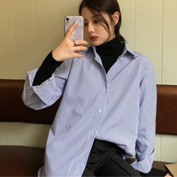feitong lady fashion women turn-down collar business lapel stripe casual loose streetwear female elegant blouse shirt