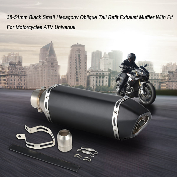 38-51mm Black Small Hexagonv Oblique Tail Refit Exhaust Muffler With Fit For Motorcycles ATV Universal