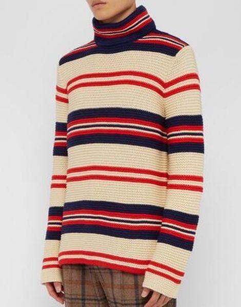 Designer Pullover Herren Freizeitpullover 2019 Winter Italien Gestreifter Pullover Herren Rotes Trikot Pour La Côte D'azur O-Neck Strick