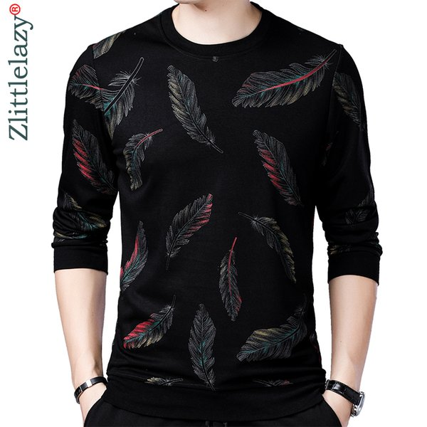 2019 designer pullover feather men sweater dress thin jersey knitted sweaters mens wear slim fit knitwear fashion clothing 41241 SH190916