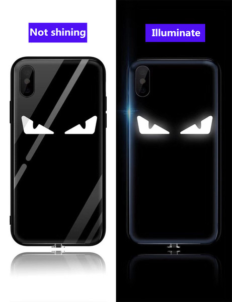 Free DHL EGEEDIGI intelligent voice control colorful luminous flash eye phone case for iphone XR XS Max X 7plus 8 8plus tempered glass cover