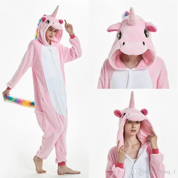 Kigurumi Pijama Adulto Animal Unicorn Shark Onesie Mujeres Hombres Pareja 2019 Pijamas de Invierno Traje Kegurumi Pijamas de franela Pijamas