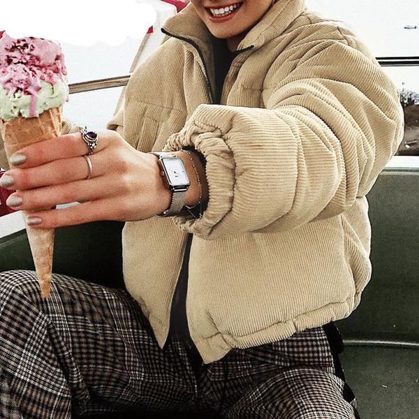 Casaco De Veludo Grosso Parka Grosso Casaco de Inverno Moda Quente Outerwear Casacos Mulheres Cáqui Streetwear Jaqueta Casaco Feminino