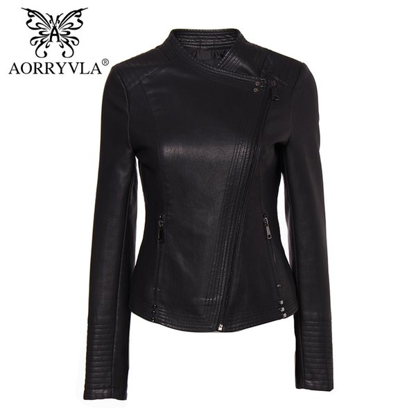 AORRYVLA New Collection PU Leather Jacket Donna Fashion Rivet Black Motorcycle Coat Breve Faux Leather Biker Giacche Marche