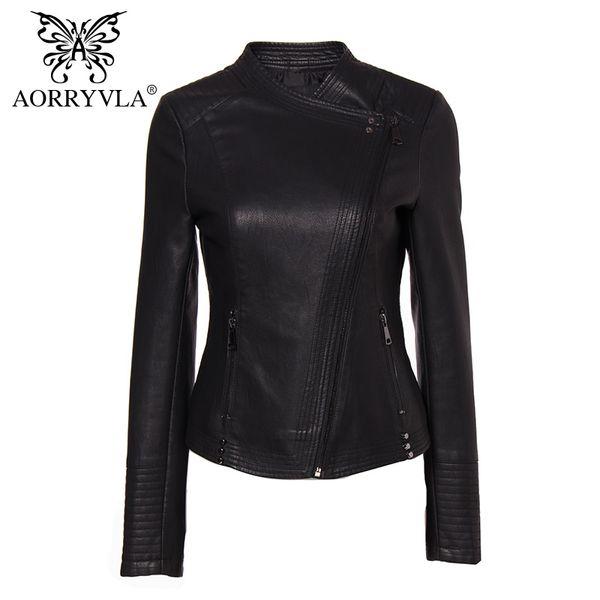 AORRYVLA Yeni Koleksiyon PU Deri Ceket Kadın Moda Perçin Siyah Motosiklet Ceket Kısa Faux Deri Biker Ceketler Markalar