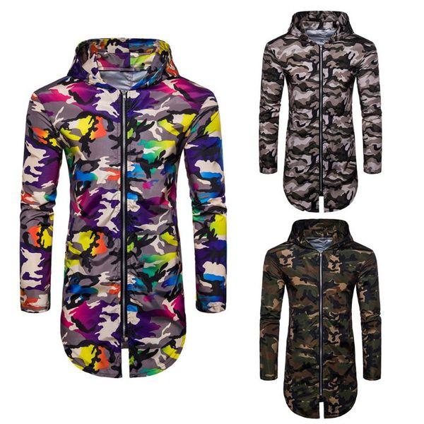 NUEVA Moda Hombres Camuflaje Chaqueta con cremallera de corte largo con capucha Casual Manga larga Abrigo Tops Tamaño M-XXL