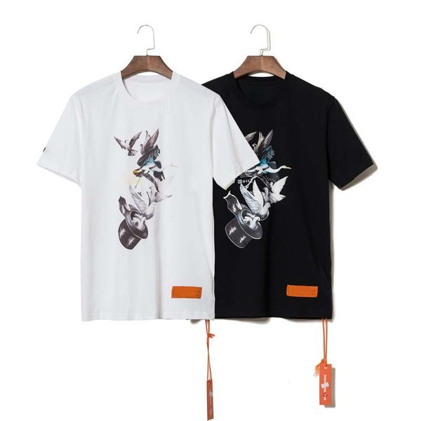 Tasarımcı Erkek Tişört Lüks 19SS Vinç Uçan Güvercin Kısa Kollu Gevşek Yuvarlak Yaka Hoodie Baskılı Pamuk Kısa Kollu Tişört