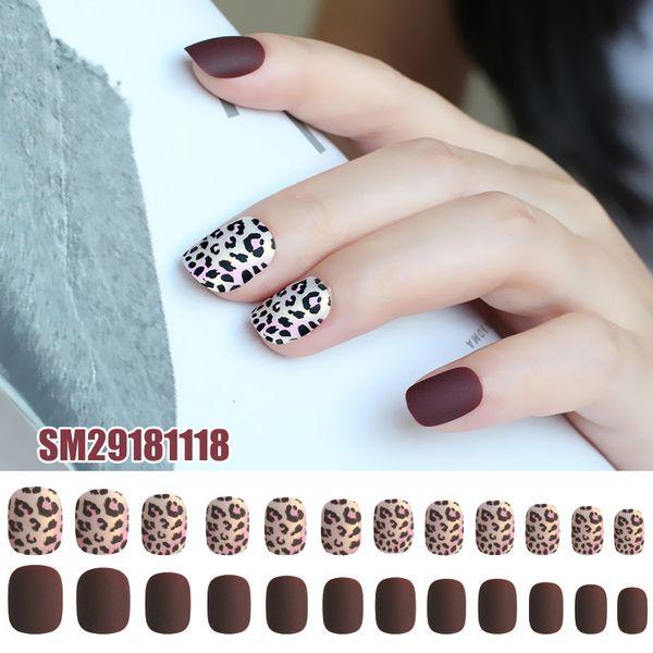 24pcs Ladies DIY Fake Nail Leopard Pttern Frosted Matte DIY Manicure False Nails Decals KG66