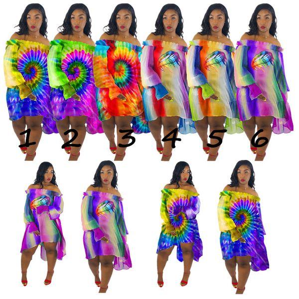 Grandes lèvres Arc-En-Soleil Soleil Robes En Mousseline De Soie Marque Mini-Jupes Femmes D'été À Manches Longues Irrégulière Robe Designer Jupe Cover-ups Beachwear C73004
