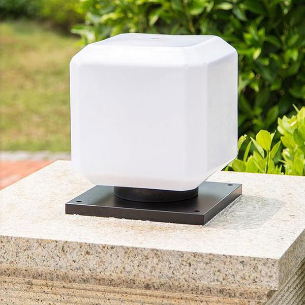E27 minimalista moderno iluminación de pilar al aire libre base cuadrada negra sombra blanca exterior lámpara de poste de patio lámpara de poste de puerta de entrada