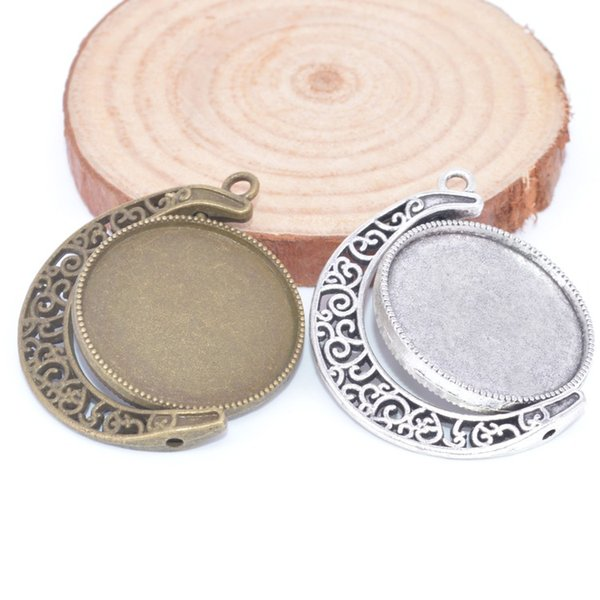 double side rotating cabochon tray settings 25mm dia antique bronze antique silver blank pendant base settings diy pendant necklace settings