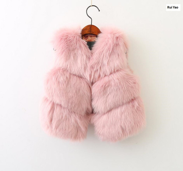 autumn winter baby vest for girl faux fur coat sleeve pink fashion kids clothes children outerwear cute