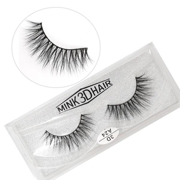 A24 3D series 100% Real mink Eye Lashes false Eyelashes a pair of false eyelashes with Crystal box