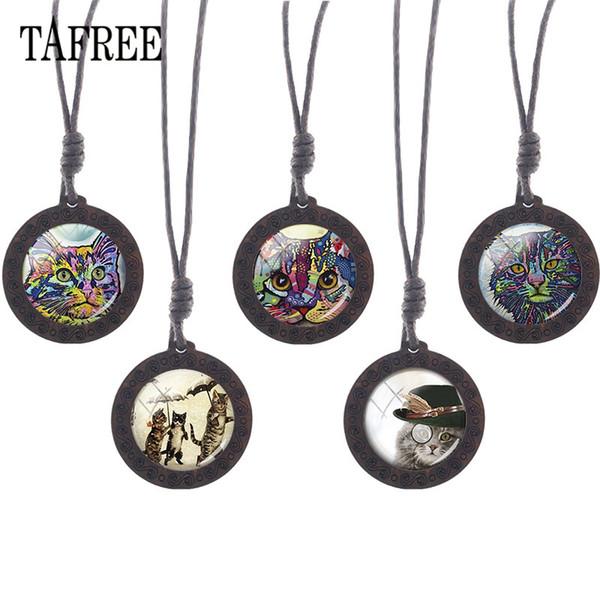 Tafree cam cabochon sanat resim kedi kolye ahşap kolye charms choker ahşap kolye halat zincir takı a251