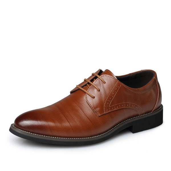 Pop Nice Men Dress Shoes Men Big Size Genuine Leather Shoes Man Lace-Up Business Casual Flats Male Pointed Toe Oxford #36975