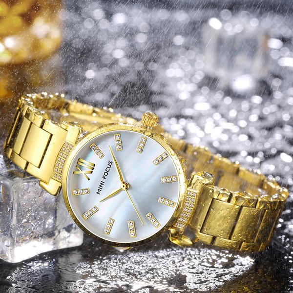 MINI FOCUS Fashion Elegant Women Watches Quartz Clock Stainless Steel Strap Top Brand Luxury Diamond Concise Ladies Wristwatches