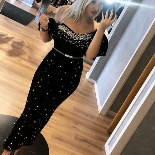Luxury Crystal Pearls Beaded Tight Evening Dresses Ankle Length Latest 2019 Sexy Off Shoulder Ruched Elegant Arabic Sheath Prom Party Dress