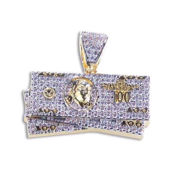 Dolar Para kolye kolye 18K altın kaplama Mikro Asfaltlanmış buzlu Out Zirkon Charm kolye Erkekler Kadınlar İçin Out buzlu