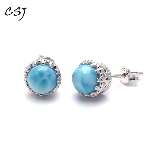 csj simple natural blue larimar earring sterling 925 silver larimar bangle fine jewelry women wedding party gift