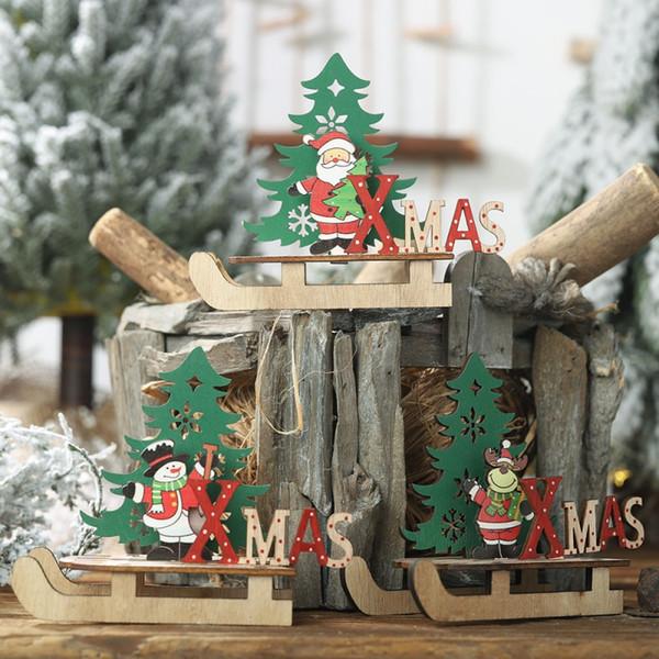 De noël en bois traîneau artisanat bricolage bureau ornements arbre de noël bonhomme de neige Indoor Holiday Party Décoration