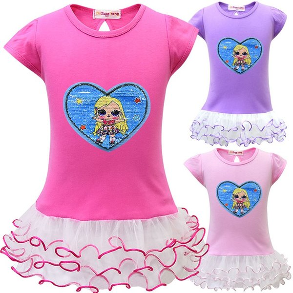 Girls Dress Surprise Girl 2019 Baby Cartoon Dolls Big Eyes Short Sleeve Double Sequins Skirt Child Kids Beach Dress Princess Dress Q143