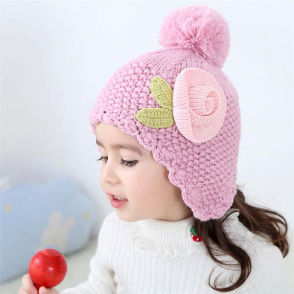 2019 nuovi cappelli del bambino del progettista di inverno del fiore dolce bambini cappelli principessa ragazze cappelli cappello Kids Designer protezione del bambino di protezione dei capretti 0-10year vecchio A9719