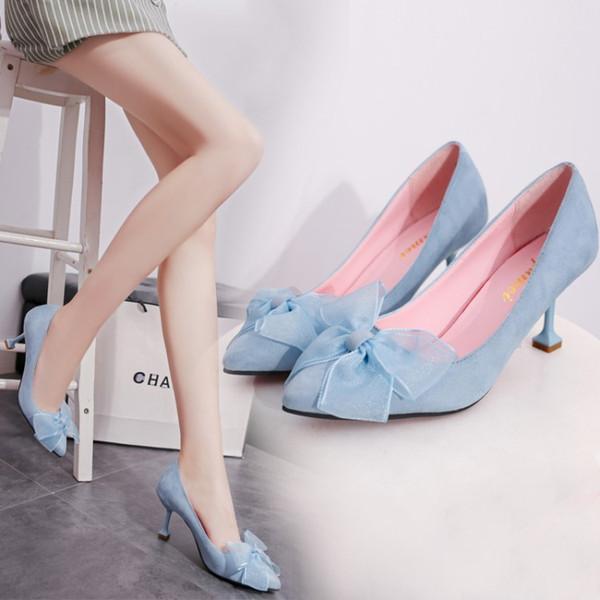 99674a6b64 Saltos grossos mulheres de inverno sapatos baixos bombas pums mulheres alta  queda rodada mulher arco weddingbow