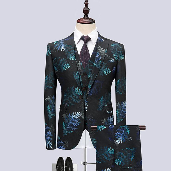 Plus Size M-6XL Mens Printed Three-piece Suits Korean Slim Flower Suit Youth Business Wedding Blazers Suits Set