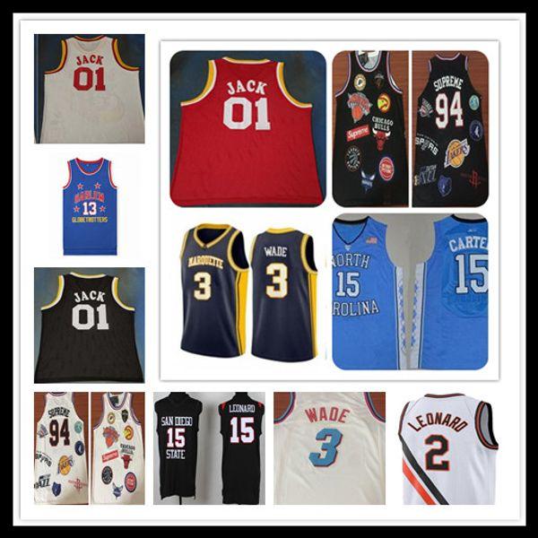 best selling NCAA Basketball College Jerseys North Carolina Carter Dwyane 3 Wade 01 Jack Harlem Chamberlain 94 Sup Kawhi 15 Leonard Stitched S-XXL
