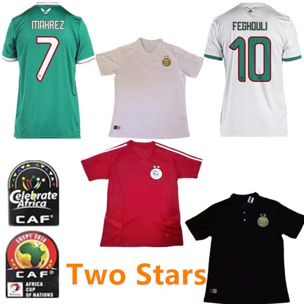 2 étoiles 2019 Algérie # 7 Maillot de foot MAHREZ 19/20 Étoiles d'or FEGHOULI BRAHIMI BELAILI POLO Maillot de foot ATAL Rouge Uniforme de Football