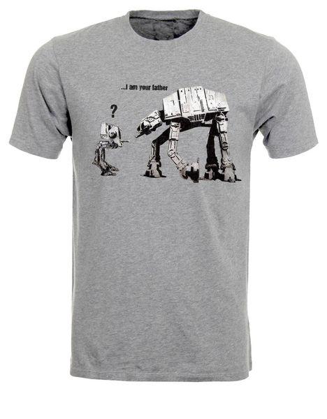 Ben senin Baban Banksy Parodi Robotlar Duvar Grafiti Mens Tshirt Tee En AC91 Erkek 2018 moda Marka T Gömlek O-Boyun% 100% pamuk