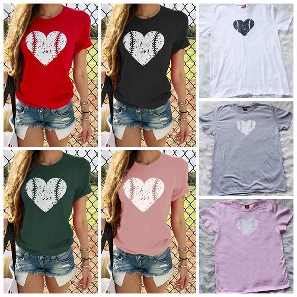 Beyzbol T-Shirt Kalp Şeklinde Beyzbol baskı T-shirt Kısa Kollu Gömlek Yaz Yuvarlak Boyun Tees Kadınlar 6 stilleri GGA1903 Tops